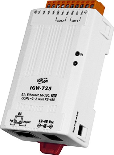 ICP DAS USA ICP-tGW-725 Compact Modbus TCP to Modbus RTU/ASCII gateway with PoE and 2 RS-485 - Server Gateway