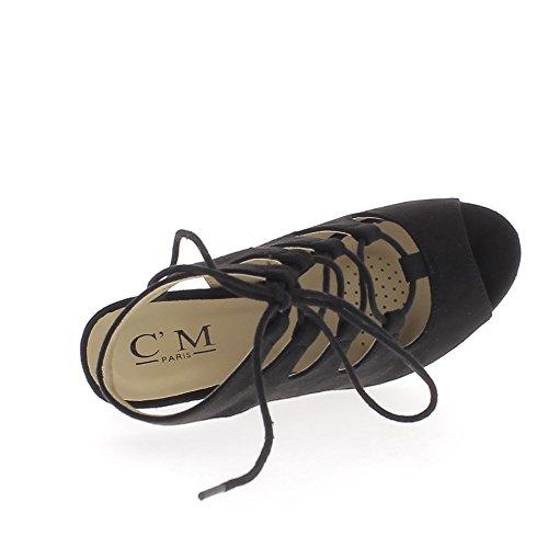 Sandali con zeppa nero a 12,5 cm lacci e tacco piattaforma