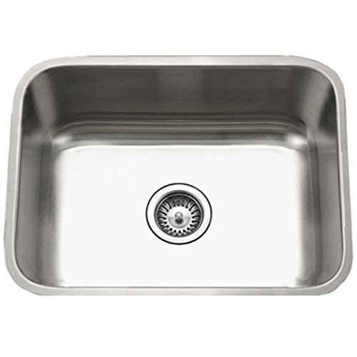 Houzer STS-1300-1 Eston Series Undermount Stainless Steel Single Bowl Kitchen Sink, 18 -