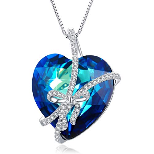 PLATO H Blue Heart Crystal Pendant Necklace, Butterfly Bowtie Necklace with Swarovski Heart Shaped Crystal, Heart Crystal Bowknot Pendant Necklace, Romantic Gift for Her