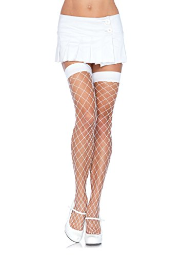 Yandy Costumes 2016 (Leg Avenue Women's Fence Net Thigh High Stockings, White, One Size)