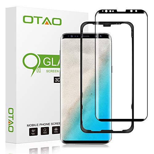 (OTAO Galaxy S9 Plus Screen Protector Tempered Glass, [Update Version] 3D Curved Dot Matrix [Full Screen Coverage] Glass Screen Protector (6.2'') with Installation Tray [Case Friendly] for Samsung S9+)