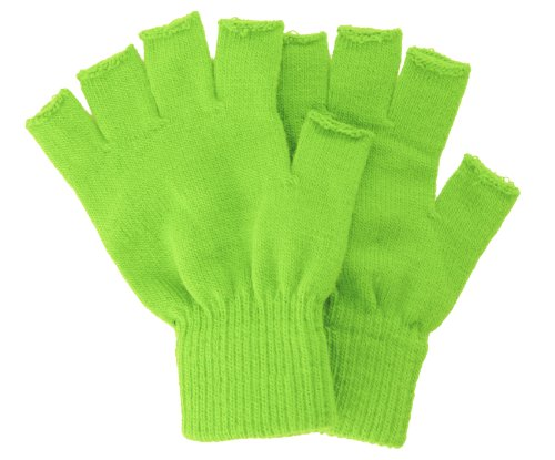 Fingertip Gloves (Winter Fingerless Gloves without Flap Cover Mitten Gloves, 4711_Lime)