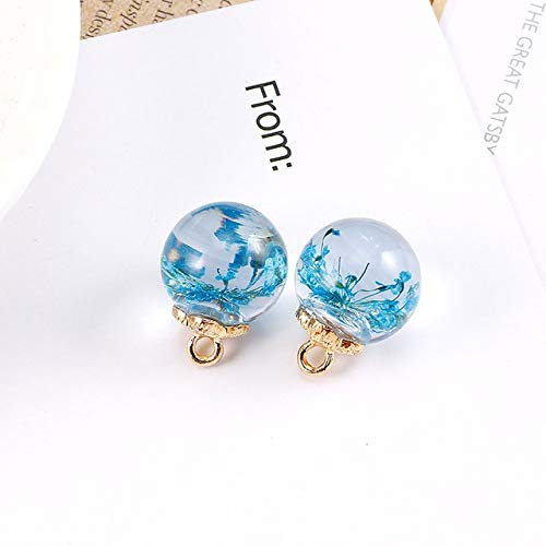Maslin 5Pcs Resin Glass Ball Garment Beads Clothes Shirt Decorative Buttons Round Crystal Pendant DIYJewelry Sewing Accessories - (Color: Sky Blue, Size: 16mm)