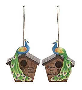 Deco 79 Polystone Birdhouse, 2 Assortment, 7-Inch by 10-Inch