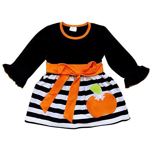 So Sydney Girls Toddler Fall Holiday Polka Dot, Scroll, Stripe Pumpkin Dress (XS (2T), Pumpkin Black Bell Sleeve) -