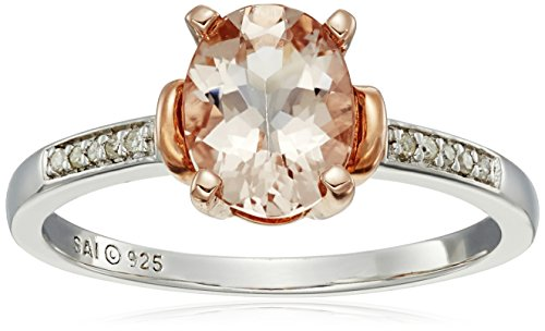 Sterling Silver with Rose Gold Plating Morganite and Diamond-Accented Ring, Size 7 ()