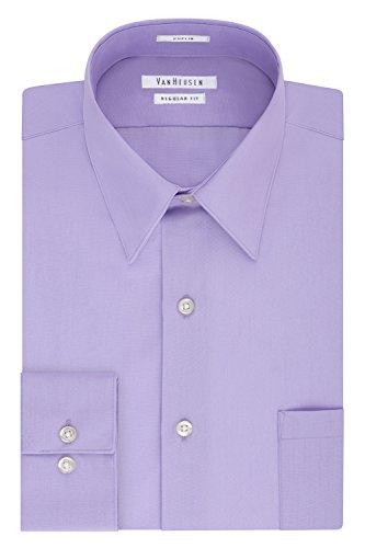 Van Heusen Men's Poplin Regular Fit Solid Point Collar Dress Shirt, Lavender, 16