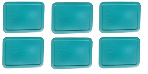 Pyrex Blue Rectangle 3 Cup (750ml) Plastic Storage Cover (6 Pack)