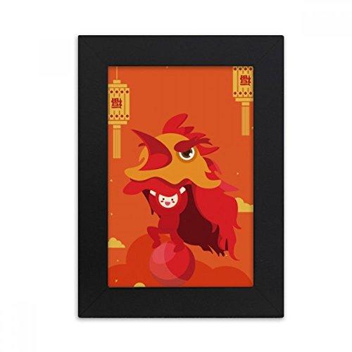 DIYthinker Red Lantern Lion Dance China Town Desktop Photo Frame Picture Black Art Painting 5x7 inch by DIYthinker (Image #4)