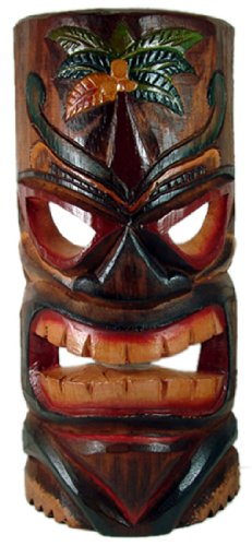 Painted Tiki Mask - Carved Tiki Mask with Painted Palm Tree - Large