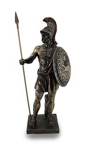 Resin Statues Greek Hero Ajax The Great Holding Spear And Shield Bronze Finish Statue 4 5 X 14 X 6 Inches Bronze