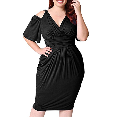 LandFox Flapper Dress,Prom Dress, Dress for Women,s Plus Size V-Neck Strapless Sexy Solid Casual Short Sleeve Dress Black -
