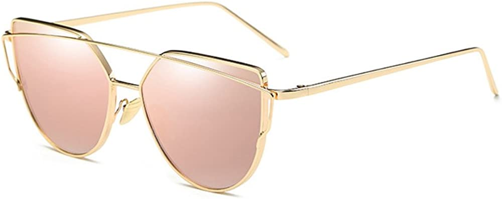 DODO-Classic Mirrored Reflective Flat Lens Metal Frame Retro Vintage Oversized Cat Eye Sunglasses