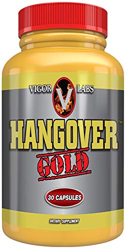 Hangover Gold Capsules by Vigor Labs | Best Recovery & Relief Supplement | Natural Migraine Headache Support | Natural Hydration & Sleep Aid | Electrolytes | Natural Liver Detox Support 30 Pills