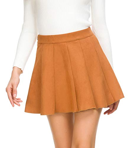 JOAUR Women Mini Pleated Skirt for Autumn Winter High Waist Flared Skater Skirt Camel