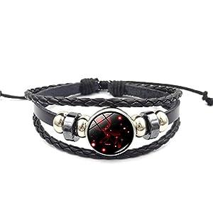 Himeiping Men and Women Punk Leather Bracelet Cord Wide Belt Wristband Bangle Cuff Bracelet