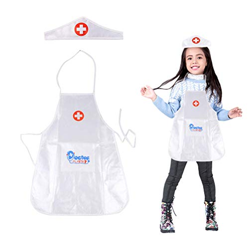 Yeawooh Kids Boys Girls Doctor Nurse's Uniform Halloween Outfit Fancy Dress up Costume with Medical Kit -