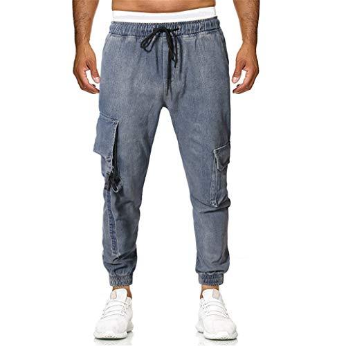 Classic Jeans Mens Multi-Pocket Casual Plaid Five-Point Summer New Denim Pants Dark Blue
