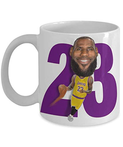 Lebron Lakers Coffee Mug Gift for LA Basketball James Sports Fan Birthday Christmas 11oz or BIG 15oz Caricature Cup