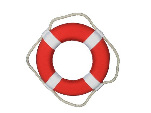 Cuddy Cabin Boat Manufacturers - Hampton Nautical  Vibrant Red Lifering with White Bands, 10