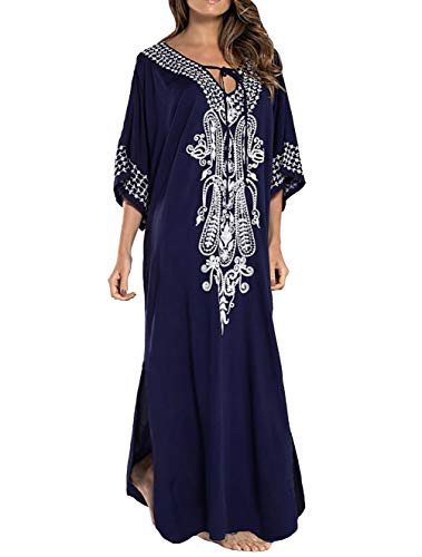 (Bestyyou Women's Printed Embroidered Kaftans Long Caftans Robe Nightgown Beach Dress Swimsuit Cover Up Swimwear (Navy)