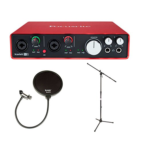 Focusrite Scarlett 6i6 USB Audio Interface (2nd Gen) + Mic Stand and 2 Knox Pop Filters by Focusrite