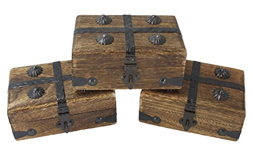 Well Pack Box Wooden Mini Pirate Treasure Chest Box Party 3 Pack (Mini Chest 3 (Treasures Set)
