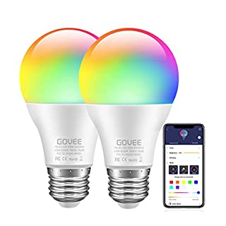 Govee LED Bulbs Dimmable 2Pack Music Sync RGB Color Changing Light Bulbs A19 7W 60W Equivalent, Multicolor Decorative No Hub Required Smart LED Bulbs with APP for Party Home (Don't Support WiFi/Alexa)