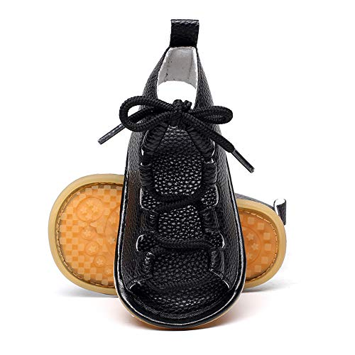 Isbasic Baby Boys Girls Summer Roman Sandals Shoes (0-6 months, black)