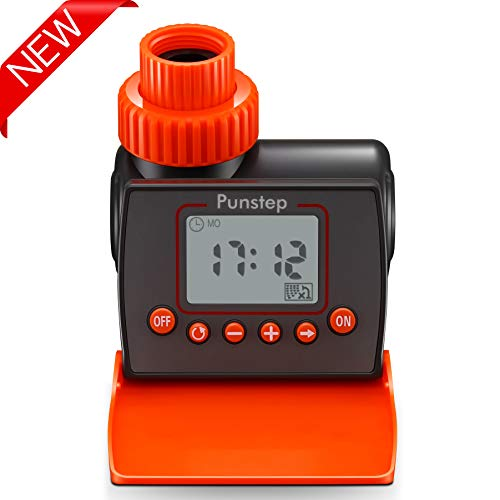 Punstep Automatic Watering Timer, Single Outlet and Flexible Programming,Easy Hose Connection with Simple to Use Digital System