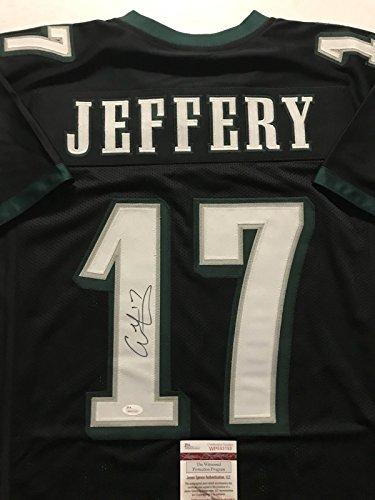 Autographed/Signed Alshon Jeffery Philadelphia Eagles Black Football Jersey JSA COA ()