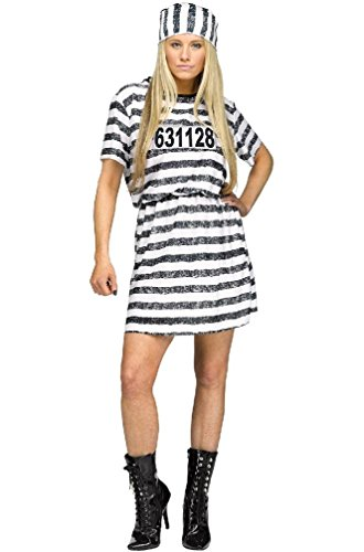 8eighteen Prisoner Jail Lady Convict Adult Halloween Costume (Convict Lady Plus Size Costume)