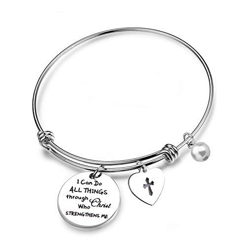 RQIER Philippians 4:13 Bracelet Strength Bible Verse Expandable Wire Bangle Christian Jewelry Religious Jewelry Inspirational Gift(Wire Bangle) Bangle Jewelry