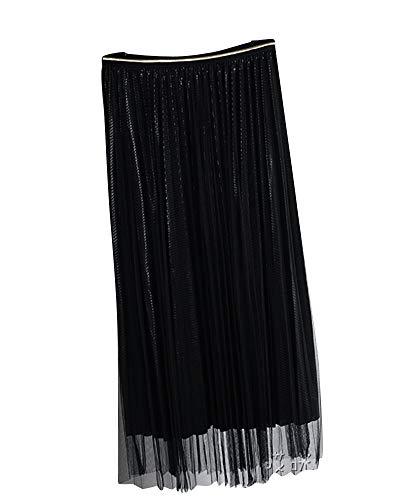 Jupe Coupe Taille Filet Taille Haute lastique De Noir Dames Jupe Plisse Slim Jupe x4Bnq8YI
