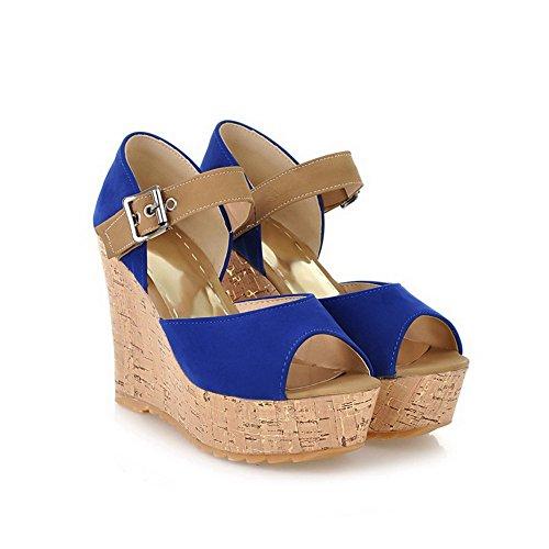 AllhqFashion Mujeres Hebilla Puntera Abierta Dos tonos Plataforma y Cuña Azul
