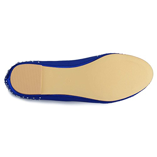 Mariage Jia Chaussures Bout Flats Strass Femme Satin Mariée Pour De 5372 Fermé Bleu 11dwPrq