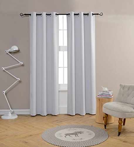 """Greyish White Blackout Curtains for Living Room by MYSKY HOME Grommet Top Thermal Insulated Drapes for Bedroom (Greyish White, 42\"""" by 95\"""", Single Panel)"""