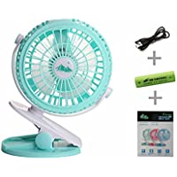 Handheld USB Desktop Kids Buggy Clip on Fan Pram Stroller 360 Degree No Dead Angle Rotation Mini Battery Hand Held For 2-6 Hours Supper Long Battery Supply(Battery included ) (Green)