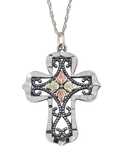 Cross Antiqued Pendant Necklace, Sterling Silver, 12k Green and Rose Gold Black Hills Gold Motif, 18'' by Black Hills Gold Jewelry
