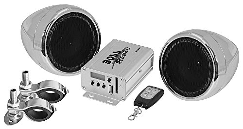 BOSS AUDIO MC500 Chrome 600 watt Motorcycle/ATV Sound System with Built-in FM Tuner with One Pair of 3 Inch Weather