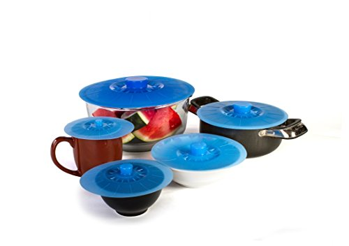 Silicone Suction Lids and Food Covers - Set of 5 - Fits various sizes of cups, bowls, pans, or containers!