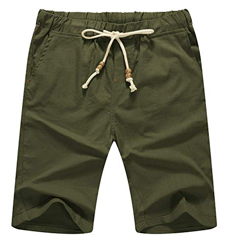 Aiyino Men's Linen Casual Classic Fit Short Summer Beach Shorts 2X-Large Army green