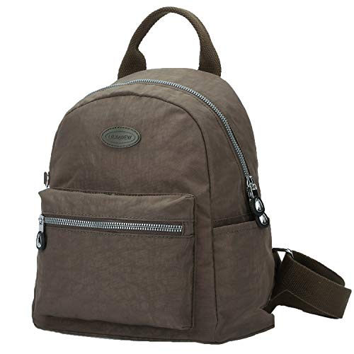 Lily & Drew Nylon Mini Casual Travel Daypack Backpack Purse (Small Light Brown Metal Zippers)