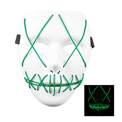 SZMAITOU Halloween LED Light Up Mask Frightening EL Wire Cosplay Masks Glowing Costume Masks for Halloween Christmas Holiday Parties Bar Acting - Green Light]()