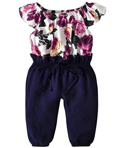 Infant Toddler Baby Girls Jumpsuit Flower Patterm Top Long Pants Easter Clothes Bodysuit Overalls Spring Summer Outfit Set (Flower Patterm Top and Navy Blue Pants, 4T -5T)