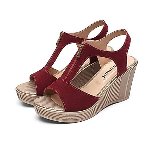 BEOTARU Women Chunky Sandals Peep Toe Classic Slip-On Fashion Zipper Open Toe Platform Wedge Sandals]()