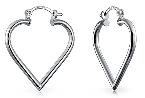 Large Heart Shaped Tube Big Hoop Earrings For Women Teen 925 Sterling Silver Hinged Notched Post