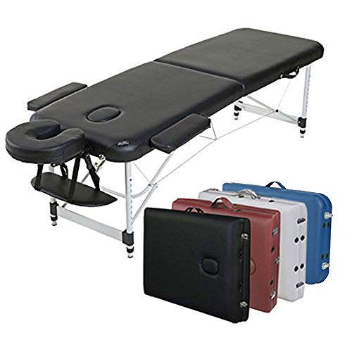 Ultra Light Weight Sturdy Aluminum Frame 84 inch Portable Massage Table Facial SPA Bed Tattoo with Carry Case Face…