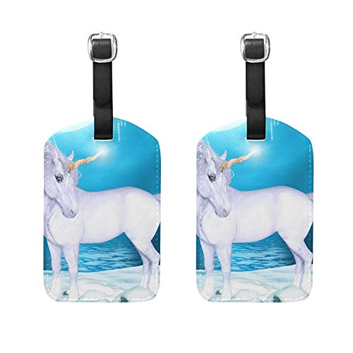 Set of 2 Luggage Tags 3D Unicorn Moon Water Suitcase Labels Travel Accessories